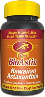 BioAstin Hawaiian Astaxanthin 12mg, 50 Count - Hawaiian Grown Premium Antioxidant - Supports Recovery from Exercise + Joint, Skin, Eye Health Naturally