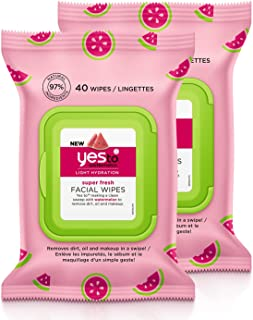 Yes To Watermelon Light Hydration Super Fresh Facial Wipes, 40 Count (Pack of 2)