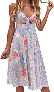 ee6c89c9c6 FANCYINN Womens Floral Prints Tie Front Button Down Spaghetti Strap Midi  Dress