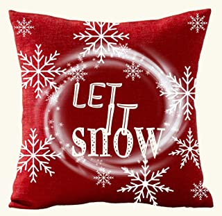Andreannie Happy Winter Merry Christmas Red Whirlwind Snowflake Let It Snow Cotton Linen Throw Pillow Case Personalized Cu...