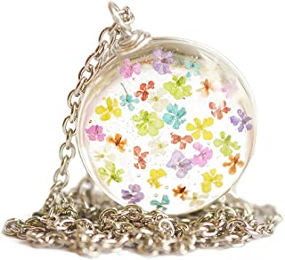 Felicity Store Pressed Flower Multi-Colored Pendant Necklace Jewelry for Women