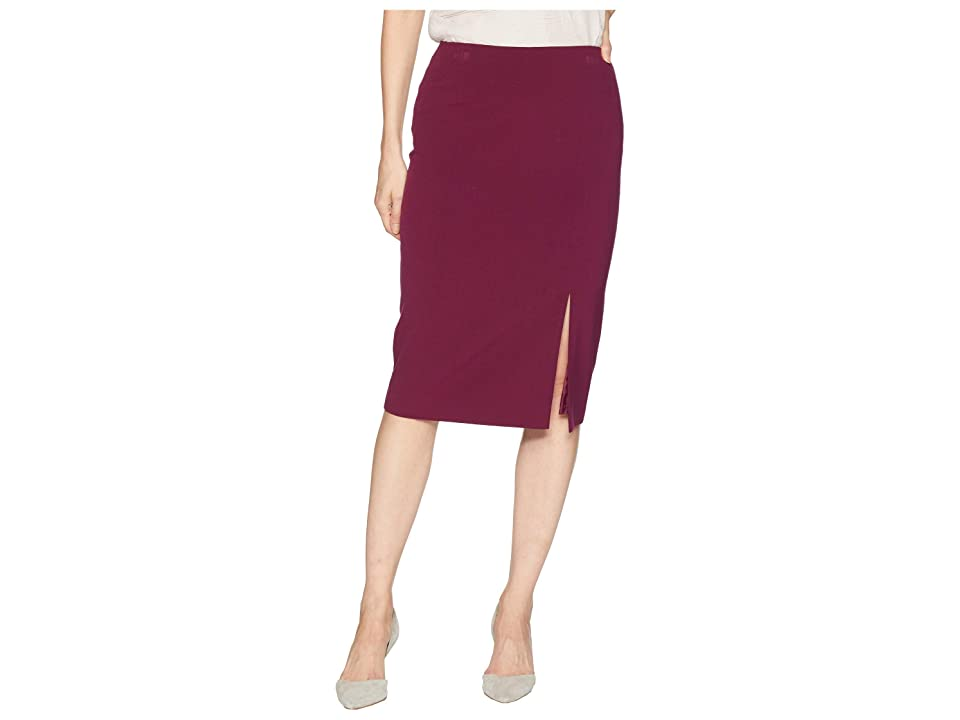 Tahari by ASL Bi-Stretch Pencil Skirt with Front Slit (Cabernet) Women