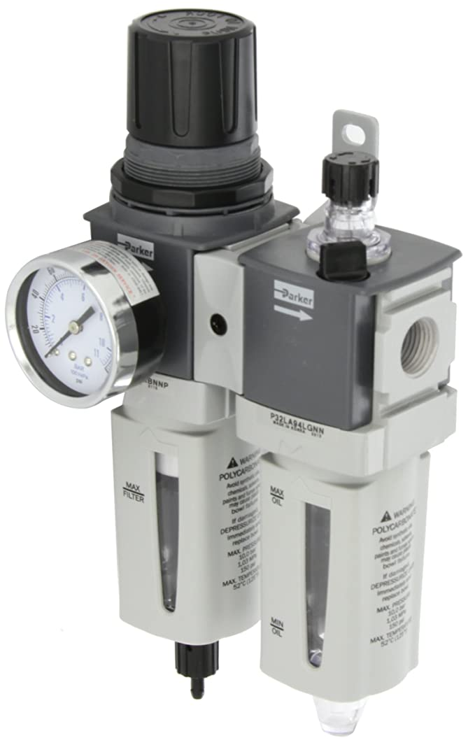Parker P32CA94GEMNGLNW  Two Piece Filter/Regulator/Lubricator, 1/2
