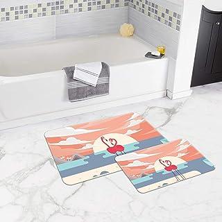 Bonamaison Antibacterial, NonSlip Bathmat, 1 Piece 50x80cm + 1 Piece 50x45cm - Designed and Manufactured in Turkey