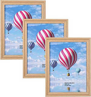 Metrekey A4 Picture Frames (3 Pack, Oak Woodgrain) GLASS Window Photo Frame for Table Top Display and Wall mounting