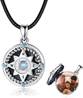 Compass Necklace 925 Sterling Silver Compass Locket Necklace That Hold Photos,Moonstone Compass Necklace Inspirational Com...