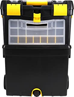 Erie Tools Portable Rolling 2-Tiered Organizer Storage Box with Foldable Auto-Locking Handle and Detachable Storage Compartment for Crafts Toys Fishing Tools