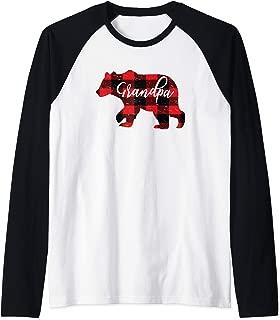 Mens Grandpa Bear Cute Red Buffalo Plaid Distressed Granddad Gift Raglan Baseball Tee