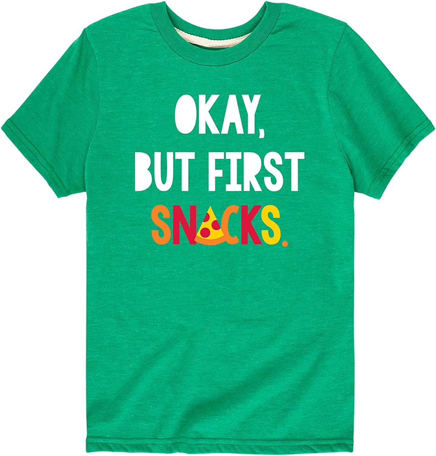 Instant Message Okay But First Snacks - Toddler and Youth Short Sleeve Graphic T-Shirt