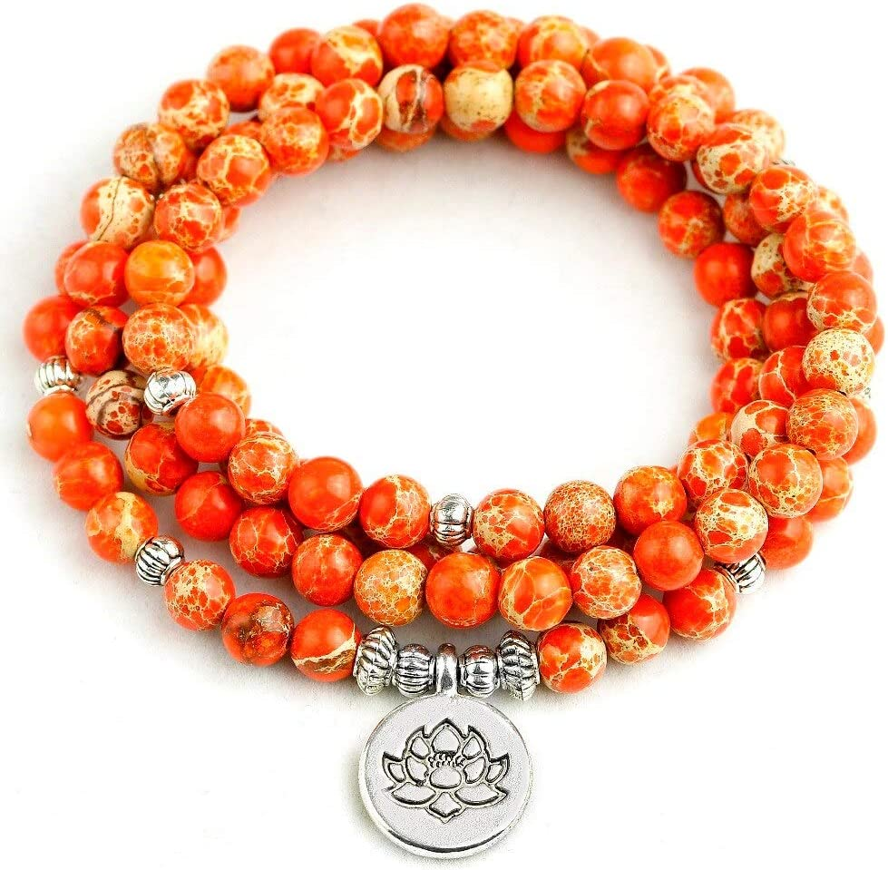 Store ANSP88 - Bracelet for Women Orange Mala Stone Sea N Sediment 2021 new 108