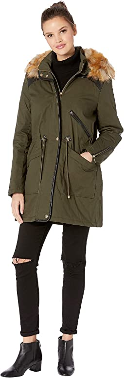 Anorak Faux Fur Hood and Drawstring Waist