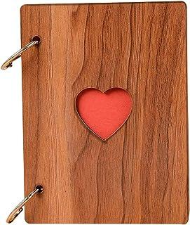 Photo Albums 6 inch creative love heart photo album vintage wood photo albums loose leaf photo sticker album (Color : Brown)