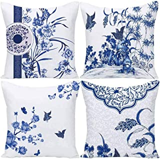 Wilproo Blue Geometric Flower Throw Pillow Covers, Decorative Cushion Covers Pillowcase Cushion Case for Sofa Bed 20x20 Inch Set of 4