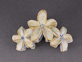 Cream Brown Plumeria Hair Clip Hawaiian Flower Barrette Alligator Claw Clamp Jaw Colored Hair Clips For Women Girls