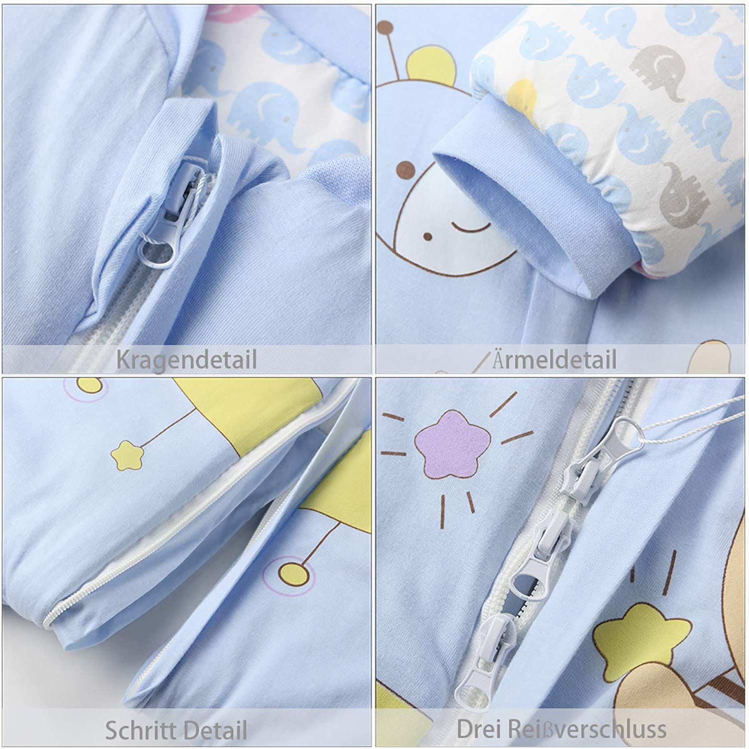 3.5 Tog Winter Long Sleeve Winter Sleeping Bag Baby Sleeping Bag with Legs Warm Lined S :Height 29-33in