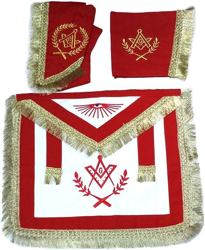 Bricks Masons Master Mason Cardura Apron Collar Gauntlets Set With Fringe Red