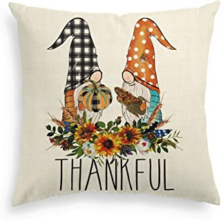 AVOIN Fall Buffalo Check Plaid Polka Dot Gnome Pumpkin Flower Tkankful Throw Pillow Cover, 18 x 18 Inch Autumn Thanksgivin...