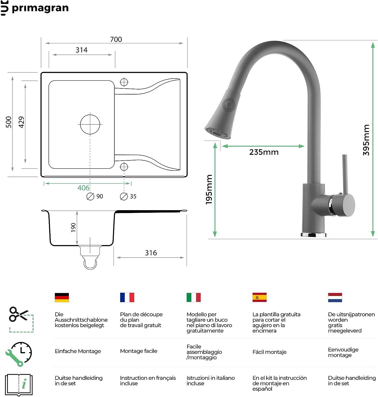 Einbausp/üle von Primagran Granitsp/üle Siphon Premium K/üchensp/üle ab 45er Unterschrank Sp/ülbecken Beige 70 x 50 cm