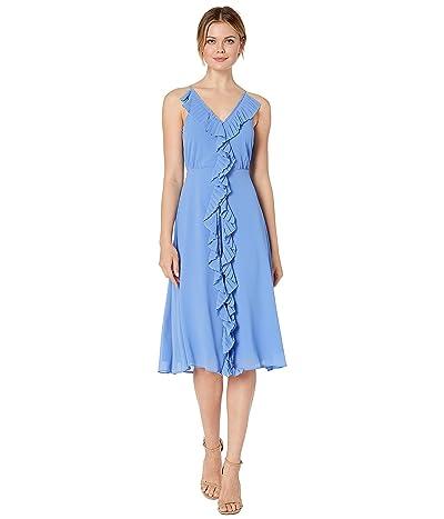 Vince Camuto Souffle Chiffon Midi Dress with Pleating (Periwinkle) Women