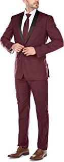 CHAMA Men's Tuxedo Suit Shawl Lapel Slim Fit 1 Button Single Breasted Tuxedo