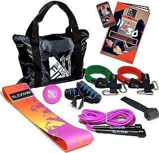 ELEVENFIT Fasce elastiche fitness, corda per saltare professionale e pallina massaggio: Il più completo kit femminile con un nuovissimo design.