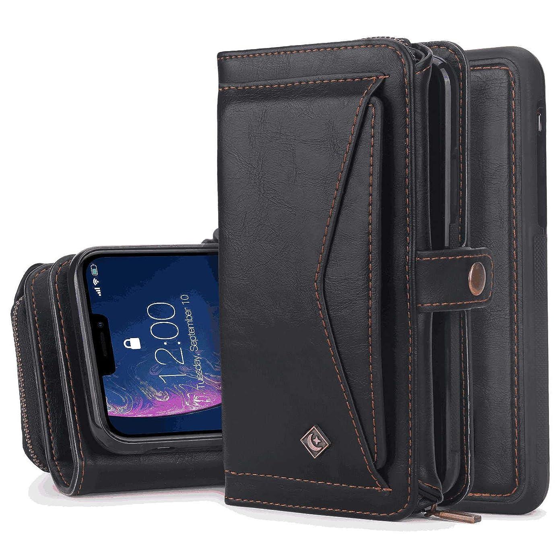 飾るアパート金貸しiPhone 7 Plus プラス レザー ケース, 手帳型 アイフォン 7 Plus プラス 本革 財布 高級 ビジネス スマートフォンカバー カバー収納 無料付スマホ防水ポーチIPX8 Absorbing