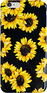 iPhone 6S & iPhone 6 Case Vintage Floral,J.west Cute Yellow Sunflowers Black Soft Cover for Girls/Women Flexible Slim fit Fashion Design Pattern Drop Protective Case for iPhone 6 6s 4.7 inch
