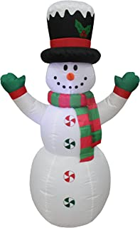 4 Foot Tall Lighted Christmas Inflatable Snowman with Hat LED Yard Art Decoration