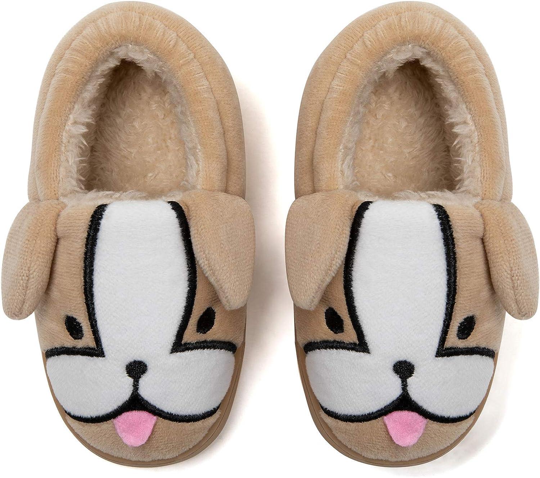 Mishansha Toddlers Boys Girls House Slippers Cute Cartoon Animal Warm Memory Foam House Shoes for Little Kids
