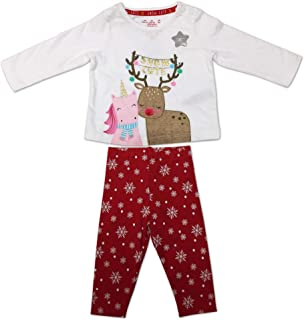 F/&F Baby Girls Festive Christmas Snow Cute Unicorn and Reindeer Glitter White T-Shirt and Red Snowflake Trousers