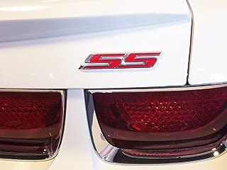 Yoaoo 1x OEM Chrome Ss Emblem Badge Sticker 3D Logofor Camaro Gm Suburban Silverado Series (1x Red)