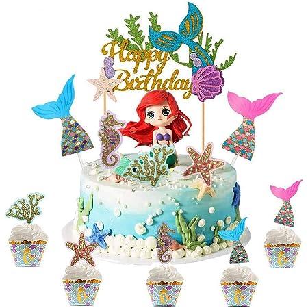 WELLXUNK Mermaid Cake Topper, 32 Pezzi Glitter Mermaid Topper, Oceano Toppers Torta, Compleanno Festa Topper Decorativi, Personalizzato Cake Topper, per Matrimonio, Festa di Compleanno e Baby Shower
