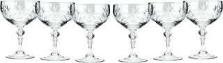 Neman Crystal CR6701, 8 Oz Crystal Champagne/Cocktail Coupe Glasses, Old-Fashioned Hand Made Coupes, Unique Vintage Stemware Set of 6