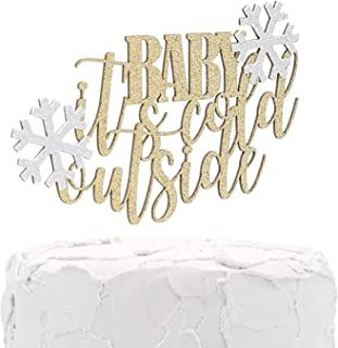 NANASUKO Cake Topper - BABY it's cold outside - Double Sided gold glitter with light silver snowflakes - Premium quality Made in USA