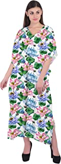 RADANYA Women Bohemian V Neck Floral Printed Kaftan Summer Cotton Caftan Dress