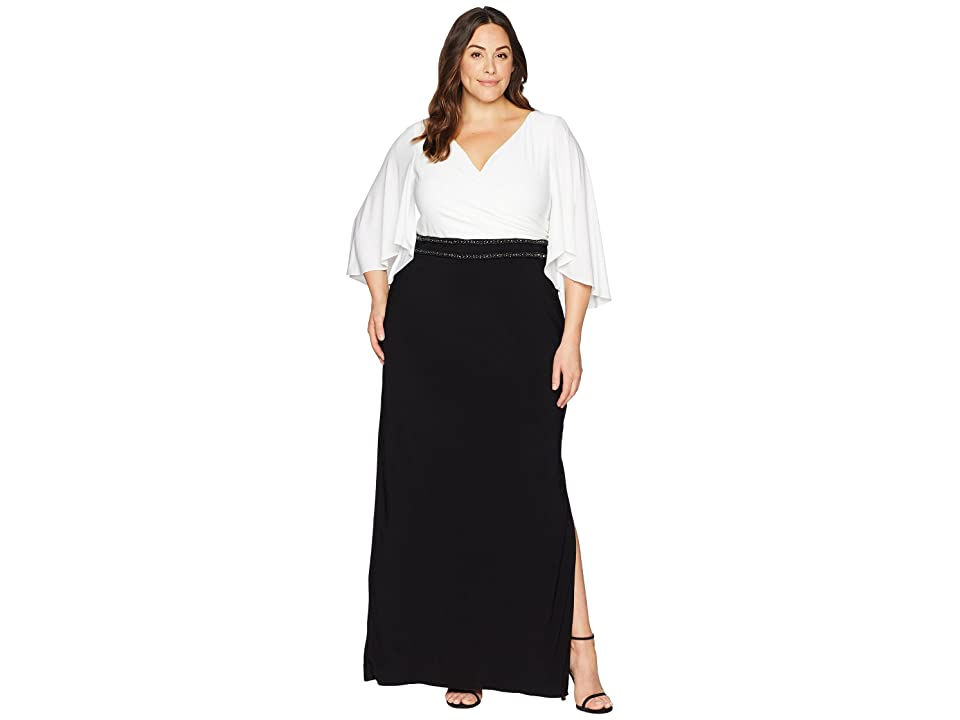 Adrianna Papell Plus Size Elbow Sleeve V-Neck Jersey Color Block Gown (Ivory/Black) Women