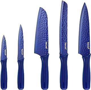 Hecef Lot de 5 couteaux de cuisine - Revêtement métallique en céramique antidérapant - Lame martelée avec manche en plasti...