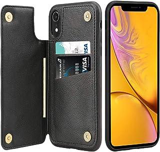 iPhone XRケース カード収納 iPhone XRケース ICカード収納 iPhone XR薄型 レザーケース Qi充電対応 アイフォンXRカバー カードポケット 耐衝撃 滑り防止 高級PUレザー 多機能スマホケース 携帯カバー (ブラック)