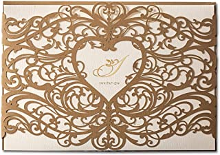 WISHMADE Gold Heart Laser Cut Wedding Invitations Cards Kit 50X Engagement Invites for Marriage Birthday Bridal Shower (Set of 50pcs)
