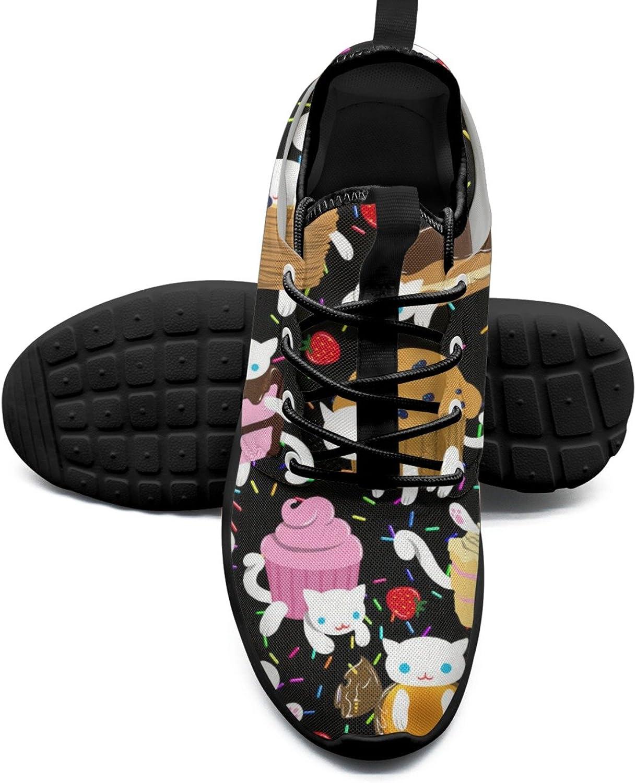 FAAERD Women's Fashion Lightweight Sneakers shoes Sweet Kitties Cat Cake Cookies Cat Donut Cupcake Stylish Running shoes