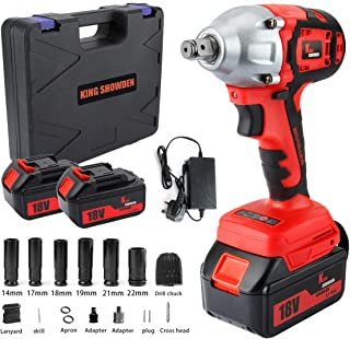 """Impact Wrench with 2 Battery, KINGSHOWDEN 18V CordlessImpactDriver Set, 4,000mAH Lithium Battery, 520N.M 1/2"""" Drive, Dua..."""