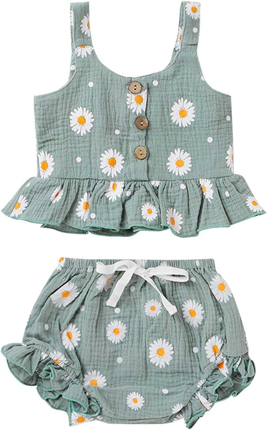 Courier shipping free Toddler Baby Girl Shorts Ranking TOP13 Outfits Ruffles Halter Crop Print Daisy