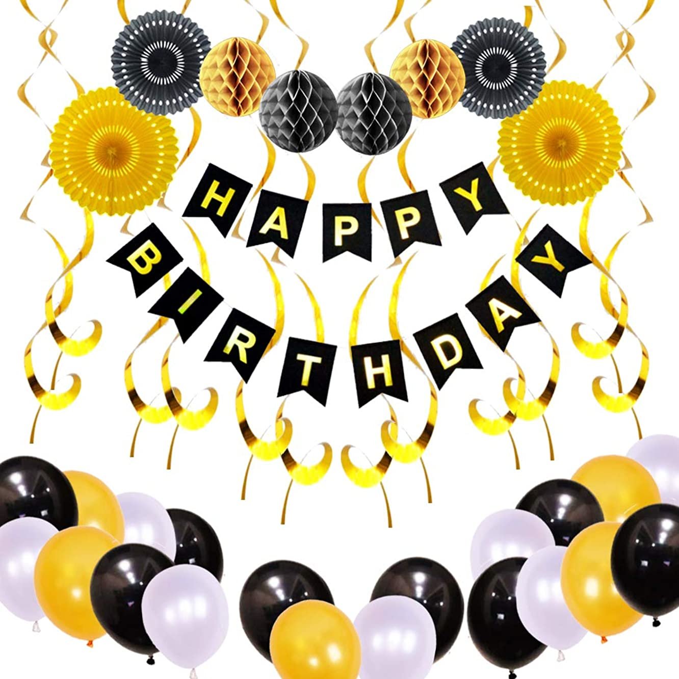 Finypa Birthday Party Decoration, Happy Birthday Banner with Paper Fans, Honeycomb Balls, Hanging Swirls and Balloons (Gold)
