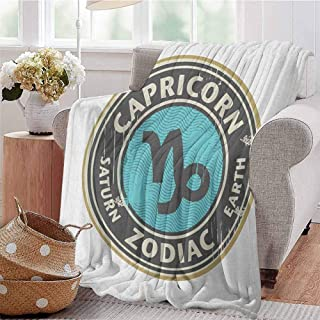 Luoiaax Zodiac Capricorn Luxury Special Grade Blanket Grunge Astrology Elements Saturn and Earth Lettering with Sign Multi-Purpose use for Sofas etc. W57 x L74 Inch Taupe Pale Blue Beige