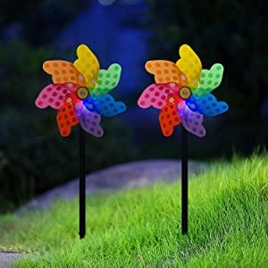 Solar Pinwheels Outdoor Large,Solar Windmills for Yard Garden,Pinwheels for Bird Repellent,Garden Wind Spinners Outdoor with Stake and Solar Light,Decorative Windmills for Landscape - 2 Pack