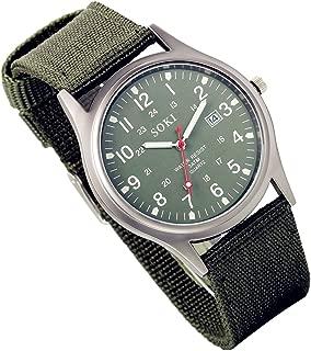 Analog Quartz Watch with Woven Nylon Band Luminous Hand Military Time 24H (Army Green, 2PCS)