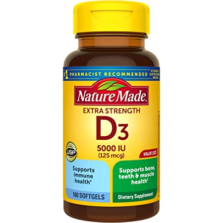 Extra Strength Vitamin D3 5000 IU (125 mcg), 180 Softgels Value Size, High Potency Vitamin D Helps Support Immune Health, Strong Bones and Teeth, & Muscle Function