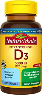 Extra Strength Vitamin D3 5000 IU (125 mcg), 180 Softgels Value Size, High Potency Vitamin D...