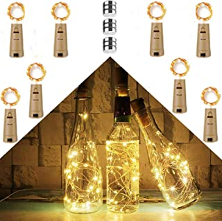 Chipark 15 LED 8 Pack Bottle Lights with Cork, Battery Operated Wine String Lights Fairy Wine Bottle Lamp DIY Light for In...