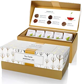 Tea Forte Warming Joy Presentation Box Tea Sampler Gift Set, Assorted Variety Tea Box, 20 Handcrafted Pyramid Tea Infuser Bags with Black Tea and Herbal Tea Winter Holiday Blends